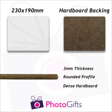 Load image into Gallery viewer, Details of size and material for the hard board backed 23x19cm personalised placemat as produced by Photogifts.co.uk