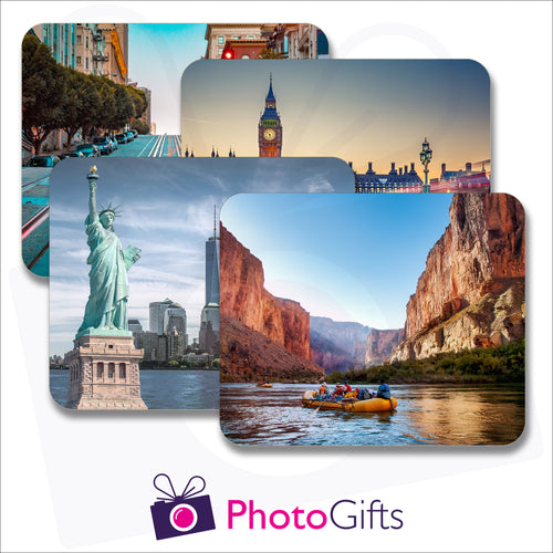 Pack of four individually personalised placemats with your own choice of image as produced by Photogifts.co.uk