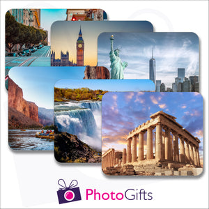 Pack of six individually personalised placemats with your own choice of image as produced by Photogifts.co.uk