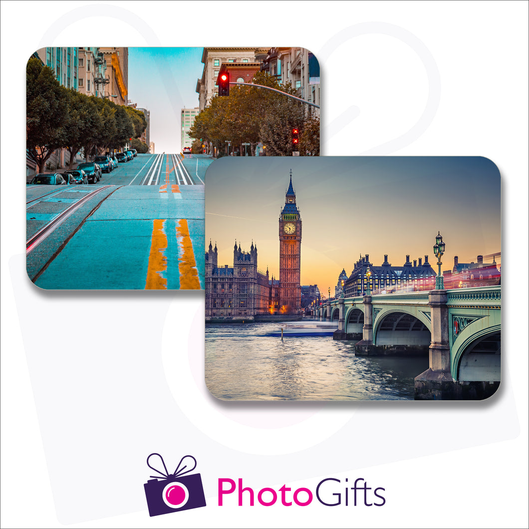 Pack of two individually personalised placemats with your own choice of image as produced by Photogifts.co.uk
