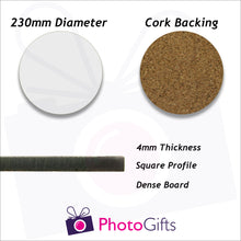 Load image into Gallery viewer, Information on 23cm round cork backed placemat as produced by Photogifts.co.uk