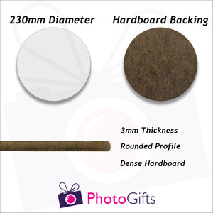 Information on material and size of 23cm round hard board backed placemat as produced by Photogifts.co.uk