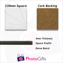 Load image into Gallery viewer, Information on size and material of 23cm square cork backed placemat as produced by Photogifts.co.uk
