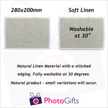 Load image into Gallery viewer, Information on size and material of 28x20cm washable linen personalised placemat as produced by Photogifts.co.uk