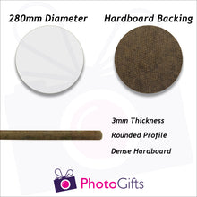 Load image into Gallery viewer, Information on 28cm round hard board personalised placemat as produced by Photogifts.co.uk