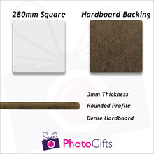 Load image into Gallery viewer, Information on 28cm square hard  board backed personalised placemat as produced by Photogifts.co.uk