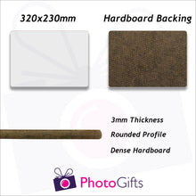 Load image into Gallery viewer, Information on sizing and material for 32x23cm Hard board backed personalised placemat as produced by Photogifts.co.uk