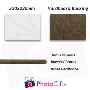 Information on sizing and material for 32x23cm Hard board backed personalised placemat as produced by Photogifts.co.uk