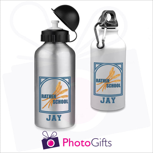 Two 400ml water bottles, one is white and the other is silver. Both have the Rathen Primary School Logo and underneath is printed the name