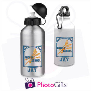 "Two 400ml water bottles, one is white and the other is silver. Both have the Rathen Primary School Logo and underneath is printed the name ""Jay"". Bottles as produced by Photogifts.co.uk"