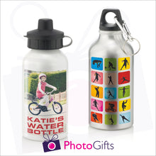Load image into Gallery viewer, Personalised 400ml sports water bottles in either white or silver finish.  Both can be personalised with your own choice of image as produced by Photogifts.co.uk