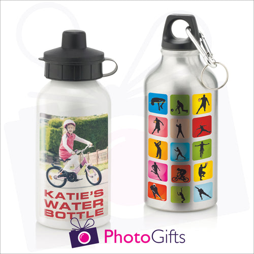 Personalised 400ml sports water bottles in either white or silver finish.  Both can be personalised with your own choice of image as produced by Photogifts.co.uk