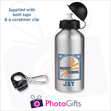 "Load image into Gallery viewer, Silver 400ml water bottle with the Rathen Primary School Logo and underneath is printed the name ""Jay"". Bottles as produced by Photogifts.co.uk"