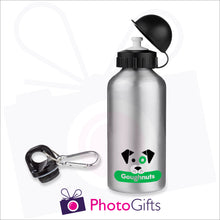 Load image into Gallery viewer, 400ml silver personalised sports water bottle supplied with two caps as produced by Photogifts.co.uk