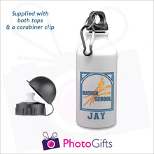 "Load image into Gallery viewer, White 400ml water bottle with the Rathen Primary School Logo and underneath is printed the name ""Jay"". Bottles as produced by Photogifts.co.uk"