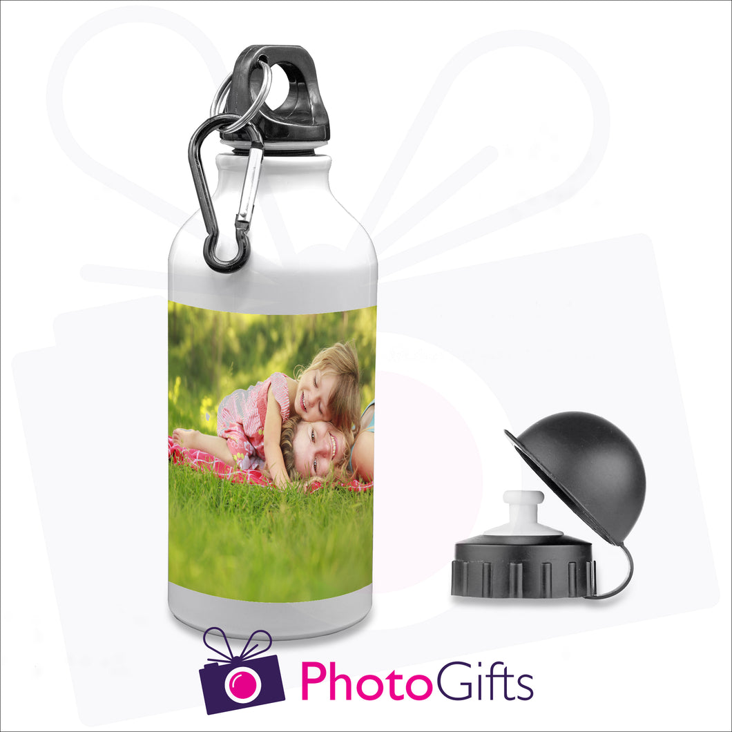400ml white personalised sports water bottle with your own choice of image and supplied with two different caps as produced by Photogifts.co.uk