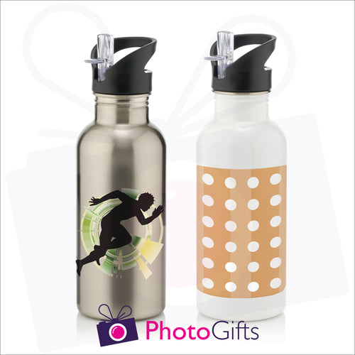 Personalised 600ml water bottles in silver and white as produced by Photogifts.co.uk