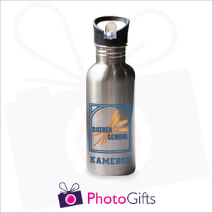 "600ml water bottle. Silver bottle with the Rathen Primary School logo printed on the bottle above the name ""Kameron"". The bottles are as produced by Photogifts.co.uk"