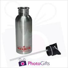 Load image into Gallery viewer, Silver personalised 600ml water bottle which is supplied with integral straw as produced by Photogifts.co.uk
