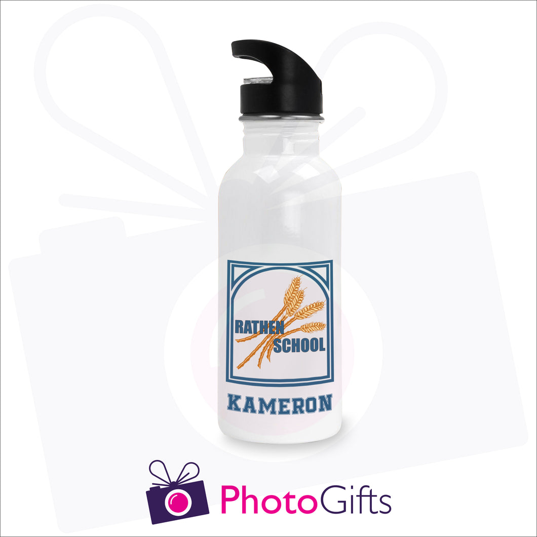 600ml water bottle. White bottle with the Rathen Primary School logo printed on the bottle above the name