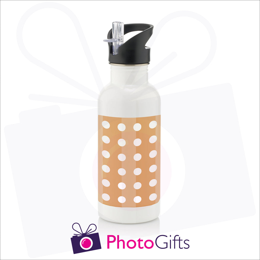 White 600ml personalised sports water bottle with cap on and integral straw as produced by Photogifts.co.uk