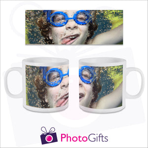 Personalised 6oz smug mug with your own choice of image on the mug. The image is wrapped around the mug and can be see in full above the mugs. As produced by Photogifts.co.uk