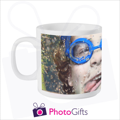 Personalised 6oz smug mug with your own choice of image on the mug as produced by Photogifts.co.uk