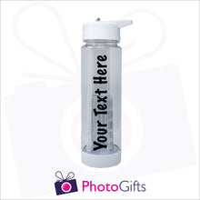 Load image into Gallery viewer, Large clear plastic fruit infusion water bottle with personalised text. As produced by Photogifts.co.uk