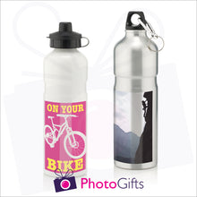 Load image into Gallery viewer, Silver and White 750ml sports water bottles with personalised images as supplied by Photogifts.co.uk