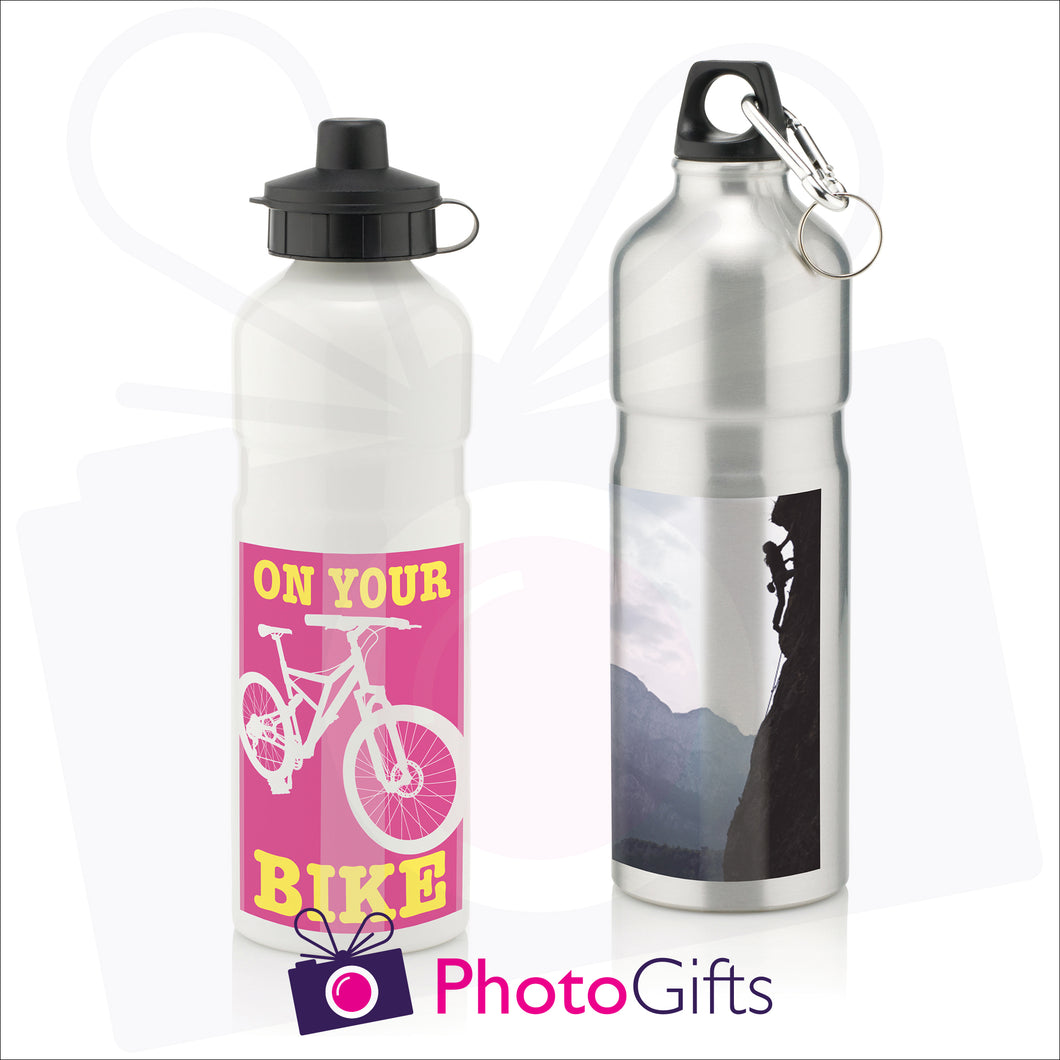 Silver and White 750ml sports water bottles with personalised images as supplied by Photogifts.co.uk