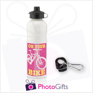 White 750ml sports water bottle with your own choice of image and two caps as supplied by Photogifts.co.uk