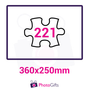 Personalised A3 jigsaw with your own choice of image. Breaks down into 221 pieces. As produced by Photogifts.co.uk