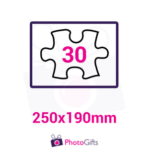 Personalised A4 jigsaw with your own choice of image. Breaks down into 30 pieces . As produced by Photogifts.co.uk
