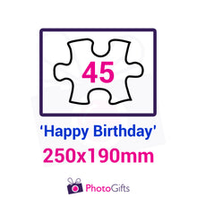 "Load image into Gallery viewer, Personalised A4 jigsaw with your own choice of image. Breaks down into 45 pieces with some of the pieces in the shape of ""Happy Birthday"" . As produced by Photogifts.co.uk"
