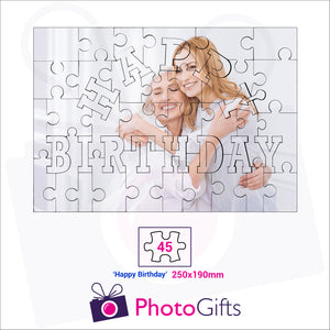 "Personalised A4 jigsaw with your own choice of image. Breaks down into 45 pieces with some of the pieces in the shape of ""Happy Birthday"" . As produced by Photogifts.co.uk"