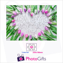"Load image into Gallery viewer, Personalised A4 jigsaw with your own choice of image. Breaks down into 50 pieces with some of the pieces in the shape of ""I Love You"" . As produced by Photogifts.co.uk"