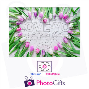 "Personalised A4 jigsaw with your own choice of image. Breaks down into 50 pieces with some of the pieces in the shape of ""I Love You"" . As produced by Photogifts.co.uk"