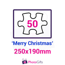 "Load image into Gallery viewer, Personalised A4 jigsaw with your own choice of image. Breaks down into 50 pieces with some of the pieces in the shape of ""Merry Christmas"" . As produced by Photogifts.co.uk"