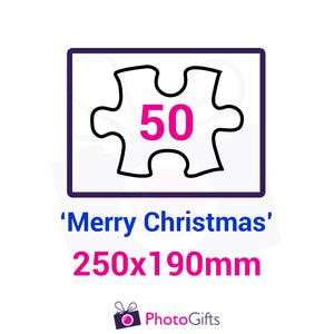 "Personalised A4 jigsaw with your own choice of image. Breaks down into 50 pieces with some of the pieces in the shape of ""Merry Christmas"" . As produced by Photogifts.co.uk"