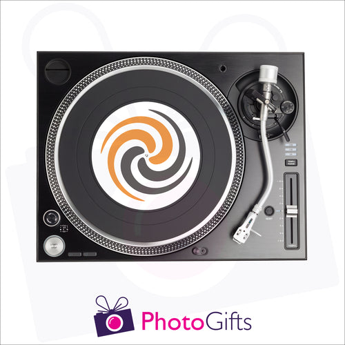 7inch personalised DJ slipmat on record player as produced by Photogifts.co.uk