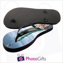Load image into Gallery viewer, Image showing top and bottom of Large adult sized personalised flip-flops with your own choice of image as produced by Photogifts.co.uk