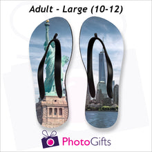 Load image into Gallery viewer, Large adult sized personalised flip-flops with your own choice of image as produced by Photogifts.co.uk