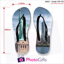 Load image into Gallery viewer, Dimensions of large adult sized personalised flip-flops with your own choice of image as produced by Photogifts.co.uk