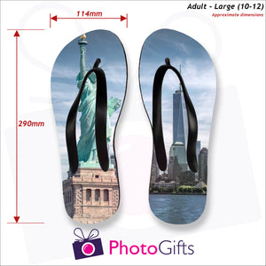 Dimensions of large adult sized personalised flip-flops with your own choice of image as produced by Photogifts.co.uk