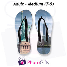 Load image into Gallery viewer, Medium adult sized personalised flip-flops with your own choice of image as produced by Photogifts.co.uk