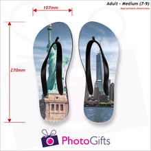 Load image into Gallery viewer, Dimensions of Medium adult sized personalised flip-flops with your own choice of image as produced by Photogifts.co.uk