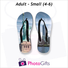 Load image into Gallery viewer, Small adult sized personalised flip-flops with your own choice of image as produced by Photogifts.co.uk