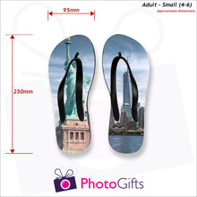 Load image into Gallery viewer, Dimensions of Small adult sized personalised flip-flops with your own choice of image as produced by Photogifts.co.uk
