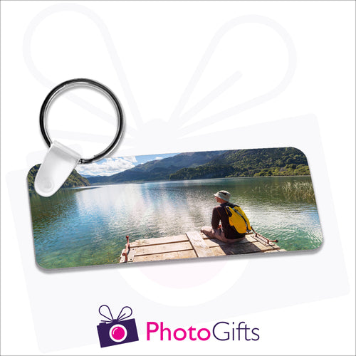 Personalised aluminium rectangular shaped keyring. Your own choice of image is printed on either side.