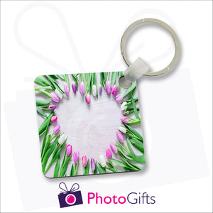 Square shaped aluminium keyring that is personalised with your own choice of image. Separate images can be printed on either side.